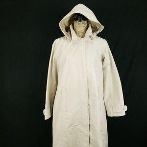 LL Bean Womens Rain Trench Coat Small OC07